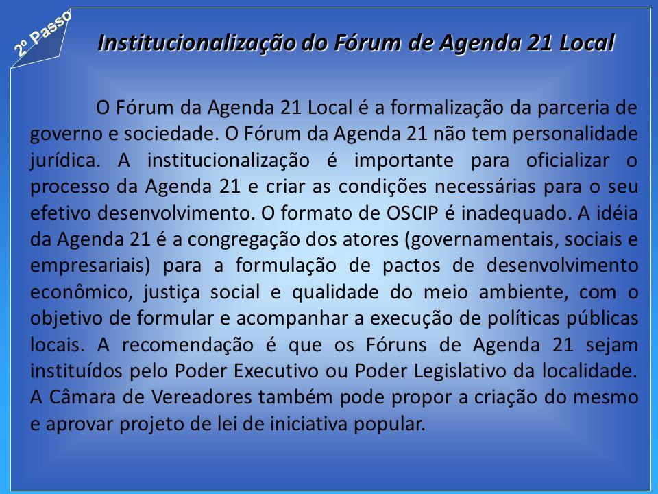 Institucionalização do Fórum de Agenda 21 Local