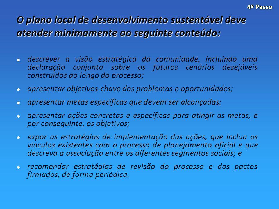 4º Passo O plano local de desenvolvimento sustentável deve atender minimamente ao seguinte conteúdo:
