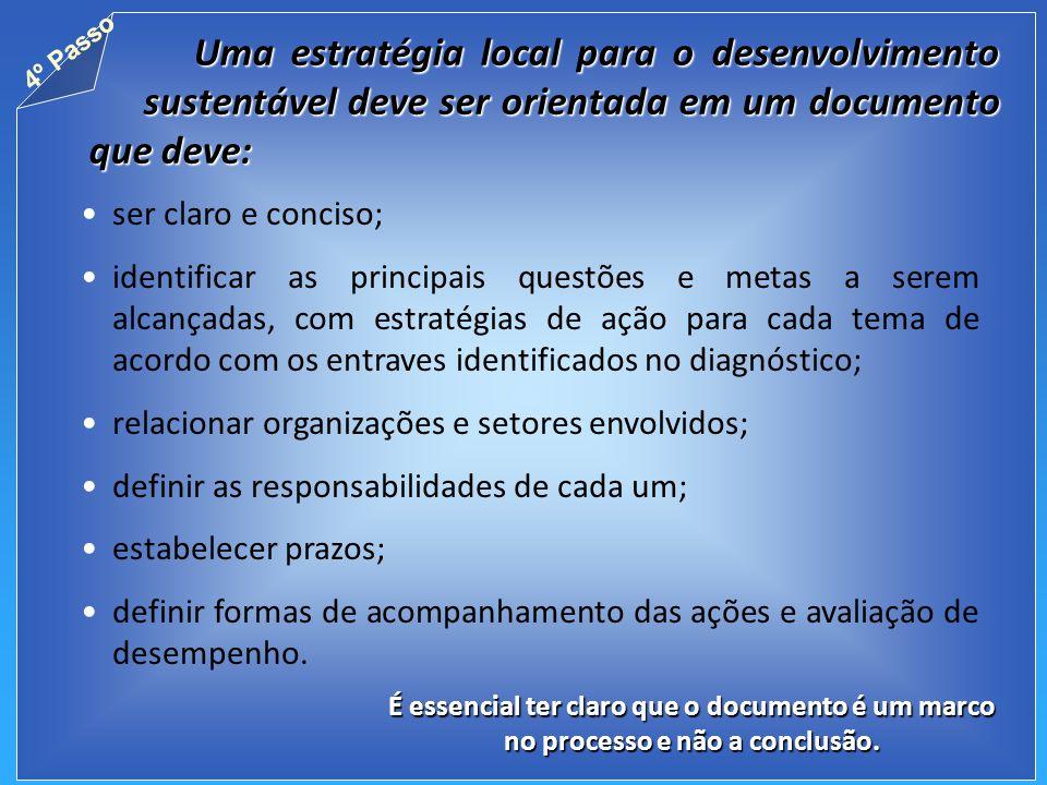 Uma estratégia local para o desenvolvimento sustentável deve ser orientada em um documento que deve: