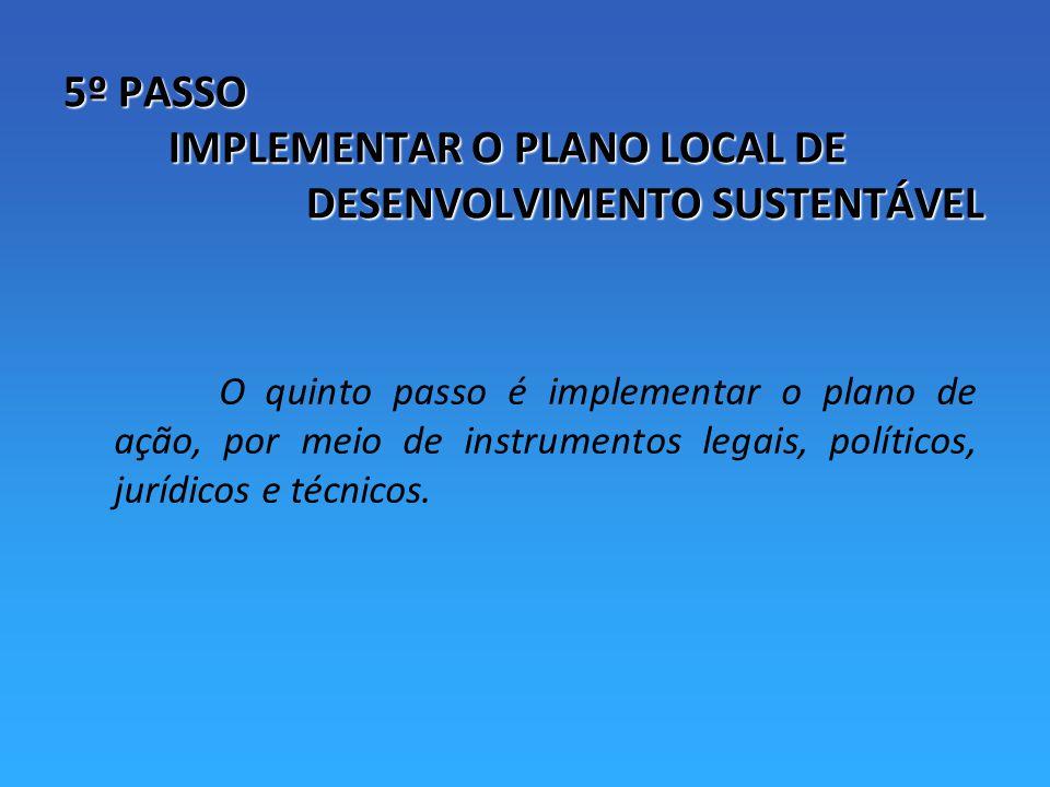 5º PASSO IMPLEMENTAR O PLANO LOCAL DE DESENVOLVIMENTO SUSTENTÁVEL
