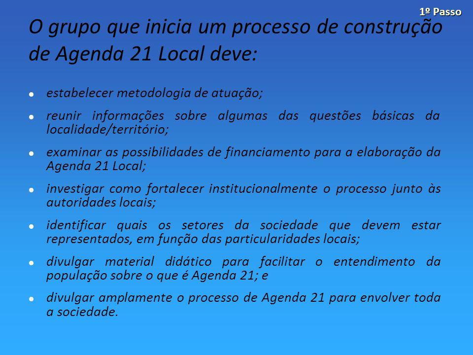 O grupo que inicia um processo de construção de Agenda 21 Local deve: