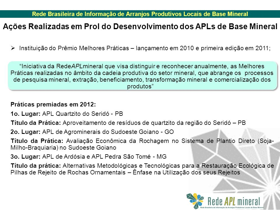 Ações Realizadas em Prol do Desenvolvimento dos APLs de Base Mineral