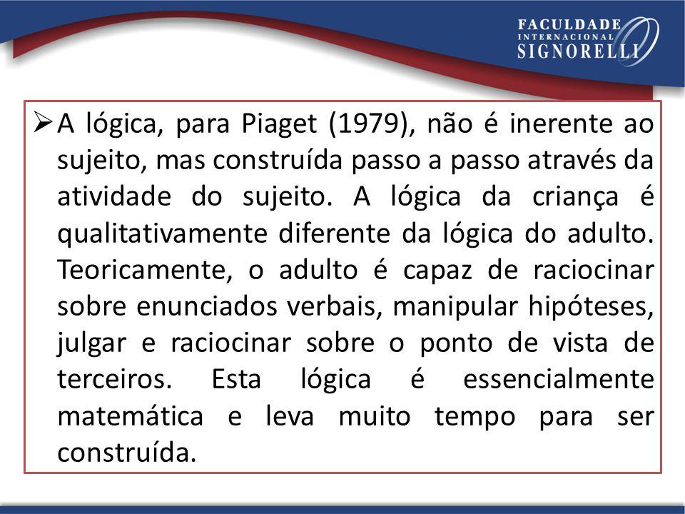 A lógica, para Piaget (1979), não é inerente ao sujeito, mas construída passo a passo através da atividade do sujeito.