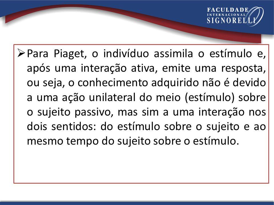 Para Piaget, o indivíduo assimila o estímulo e, após uma interação ativa, emite uma resposta, ou seja, o conhecimento adquirido não é devido a uma ação unilateral do meio (estímulo) sobre o sujeito passivo, mas sim a uma interação nos dois sentidos: do estímulo sobre o sujeito e ao mesmo tempo do sujeito sobre o estímulo.