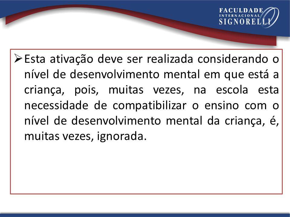Esta ativação deve ser realizada considerando o nível de desenvolvimento mental em que está a criança, pois, muitas vezes, na escola esta necessidade de compatibilizar o ensino com o nível de desenvolvimento mental da criança, é, muitas vezes, ignorada.