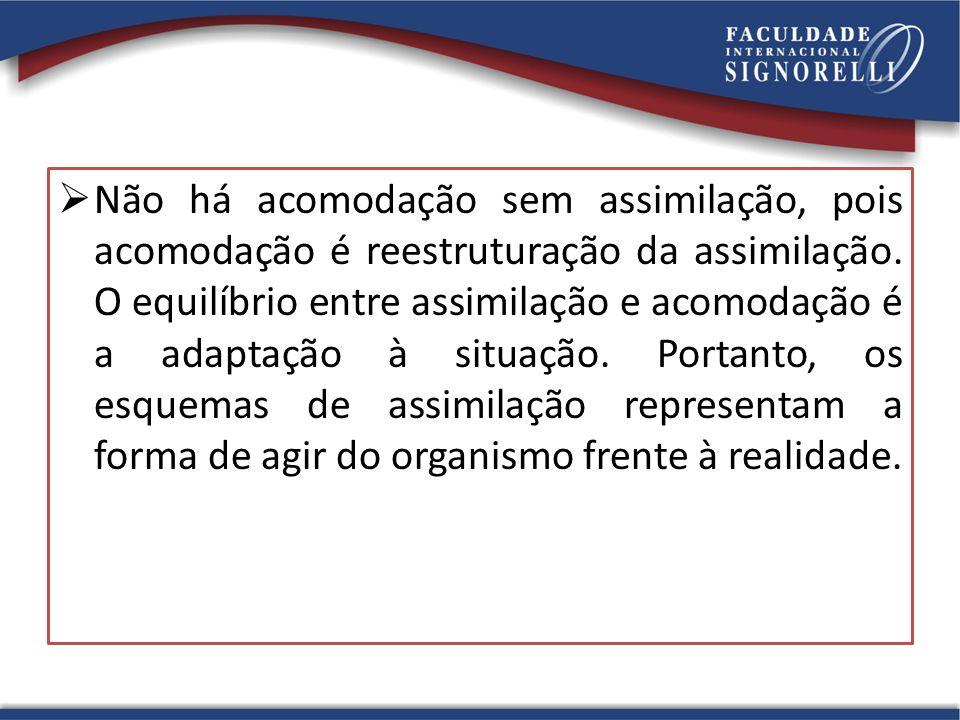 Não há acomodação sem assimilação, pois acomodação é reestruturação da assimilação.