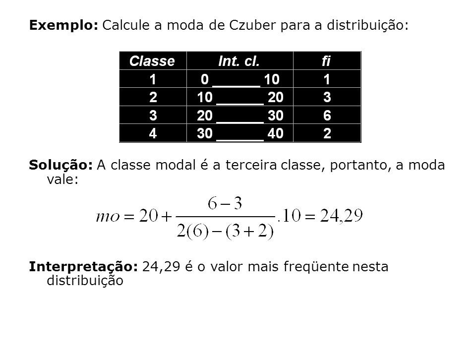 Exemplo: Calcule a moda de Czuber para a distribuição: