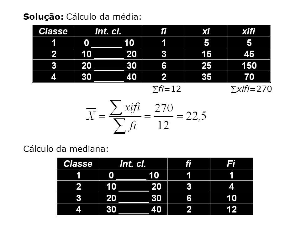 Solução: Cálculo da média: