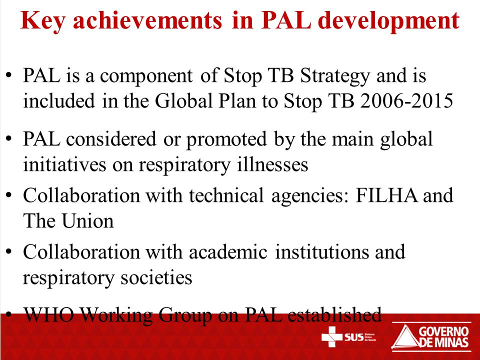 Key achievements in PAL development