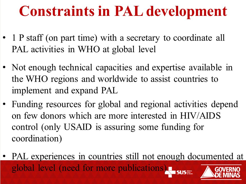 Constraints in PAL development