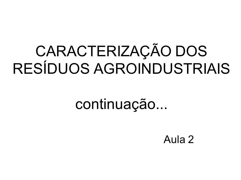 CARACTERIZAÇÃO DOS RESÍDUOS AGROINDUSTRIAIS continuação...