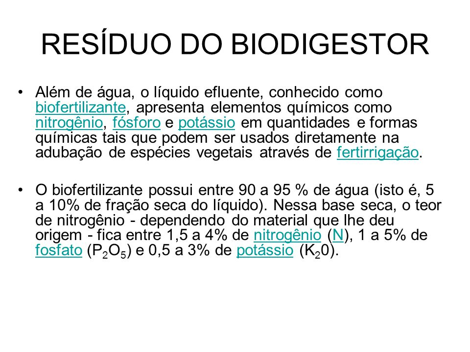 RESÍDUO DO BIODIGESTOR