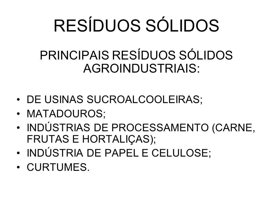 PRINCIPAIS RESÍDUOS SÓLIDOS AGROINDUSTRIAIS: