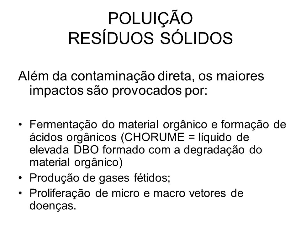 POLUIÇÃO RESÍDUOS SÓLIDOS