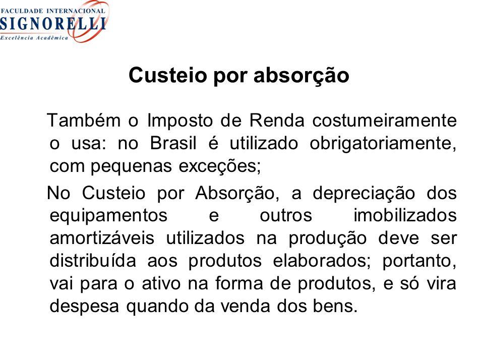 Custeio por absorção Também o Imposto de Renda costumeiramente o usa: no Brasil é utilizado obrigatoriamente, com pequenas exceções;