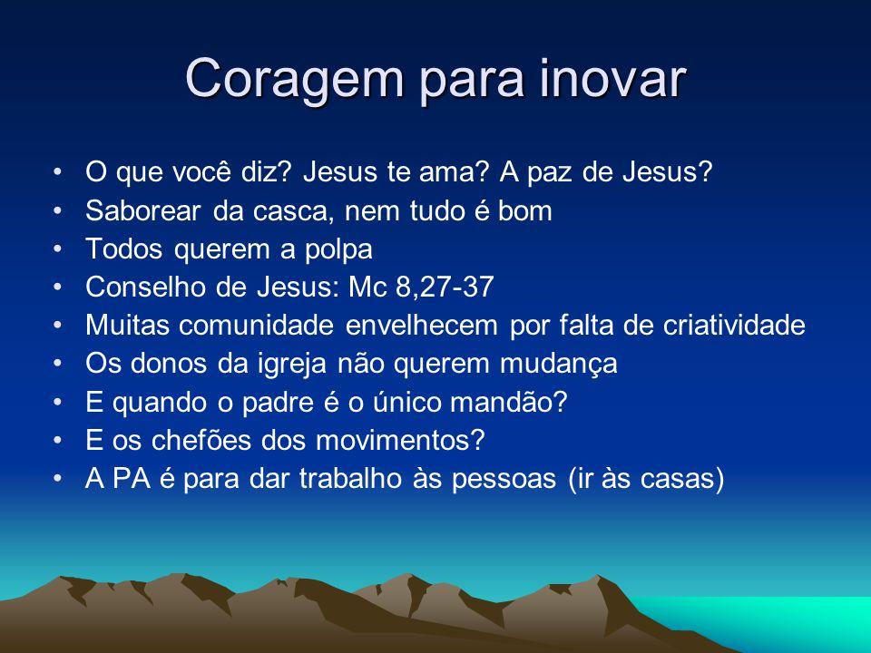 Coragem para inovar O que você diz Jesus te ama A paz de Jesus