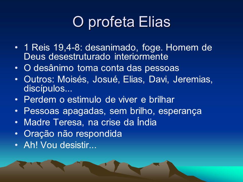 O profeta Elias 1 Reis 19,4-8: desanimado, foge. Homem de Deus desestruturado interiormente. O desânimo toma conta das pessoas.