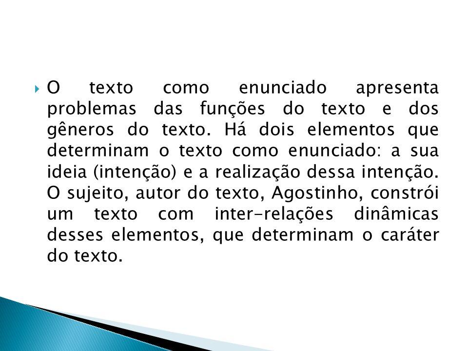O texto como enunciado apresenta problemas das funções do texto e dos gêneros do texto.