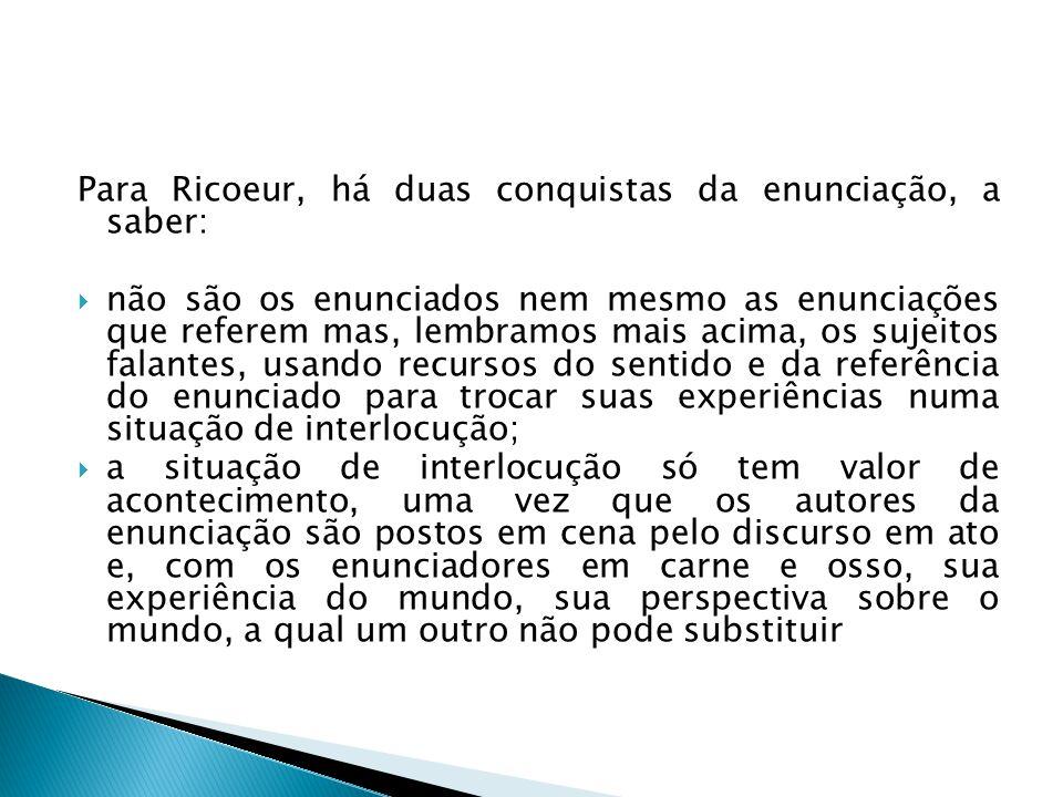 Para Ricoeur, há duas conquistas da enunciação, a saber: