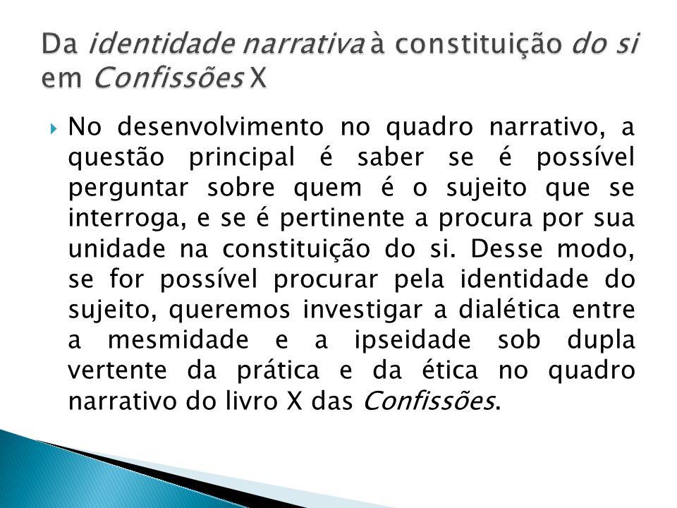 Da identidade narrativa à constituição do si em Confissões X