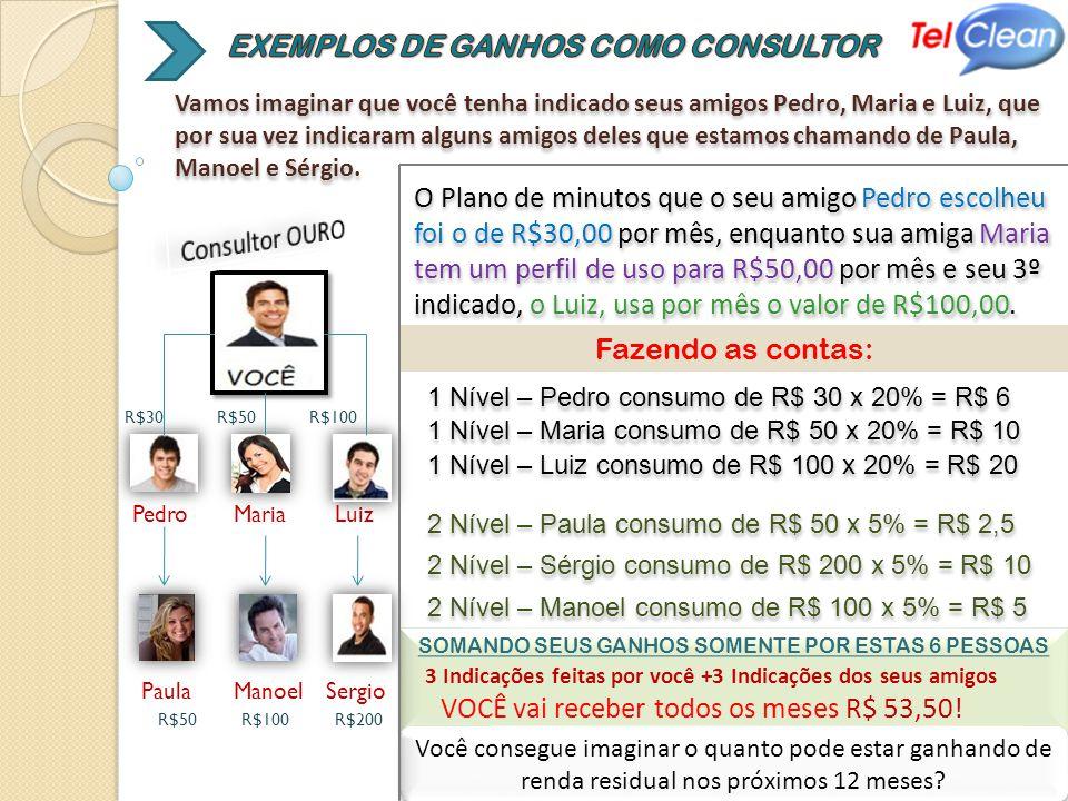 EXEMPLOS DE GANHOS COMO CONSULTOR