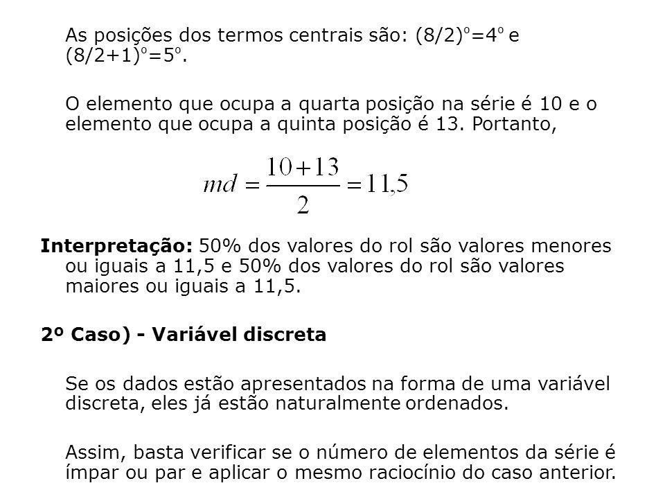 As posições dos termos centrais são: (8/2)º=4º e (8/2+1)º=5º.