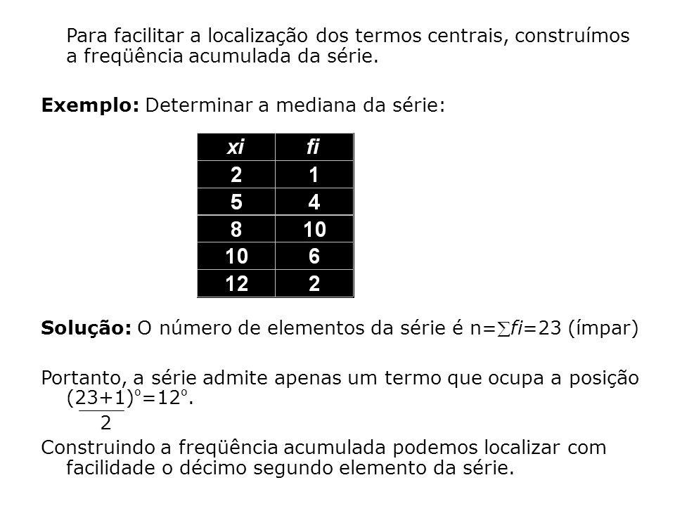 Para facilitar a localização dos termos centrais, construímos a freqüência acumulada da série.