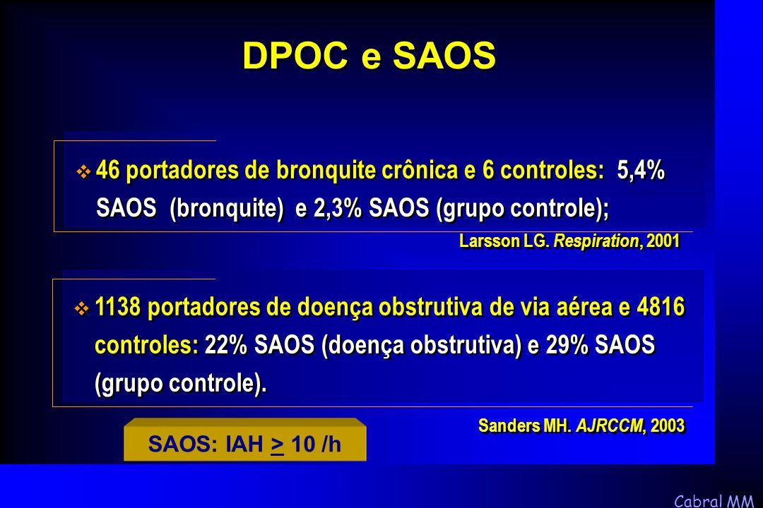 DPOC e SAOS 46 portadores de bronquite crônica e 6 controles: 5,4% SAOS (bronquite) e 2,3% SAOS (grupo controle);