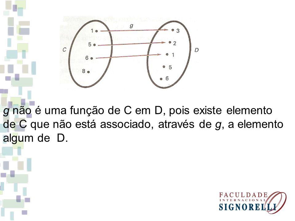 g não é uma função de C em D, pois existe elemento