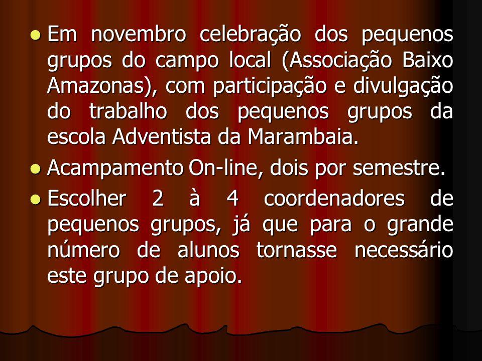 Em novembro celebração dos pequenos grupos do campo local (Associação Baixo Amazonas), com participação e divulgação do trabalho dos pequenos grupos da escola Adventista da Marambaia.