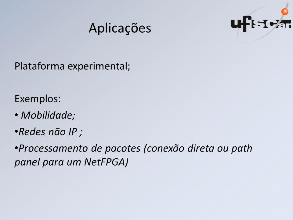 Aplicações Plataforma experimental; Exemplos: Mobilidade;
