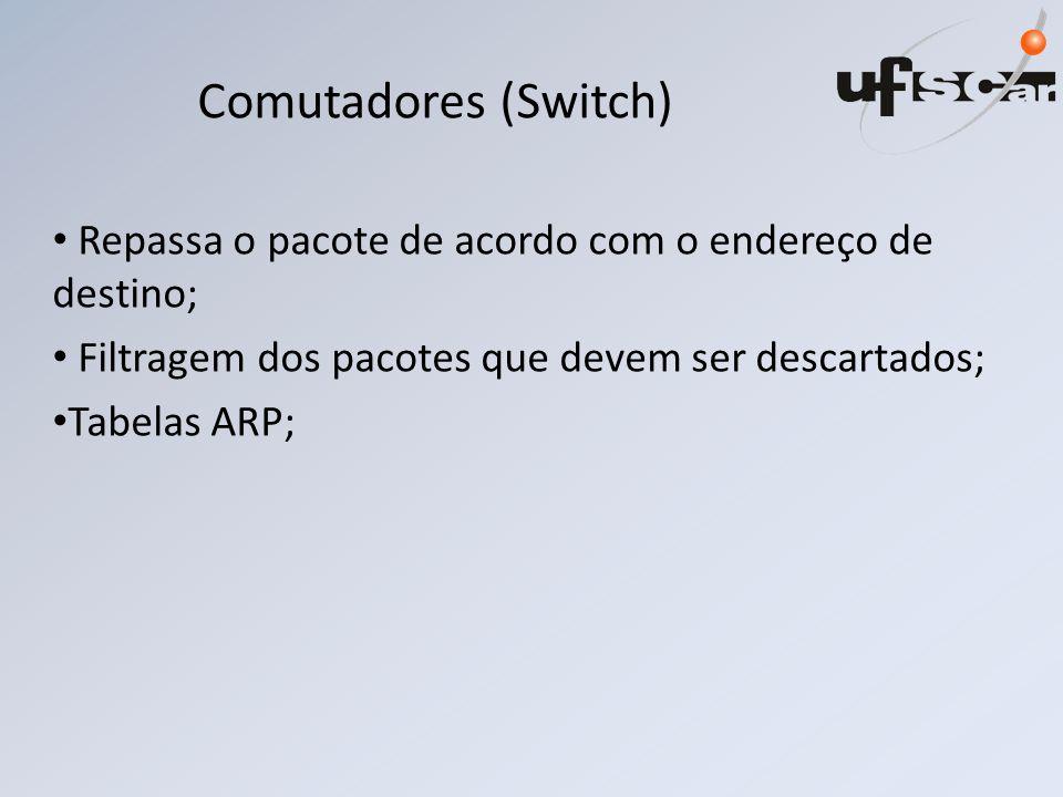 Comutadores (Switch) Repassa o pacote de acordo com o endereço de destino; Filtragem dos pacotes que devem ser descartados;