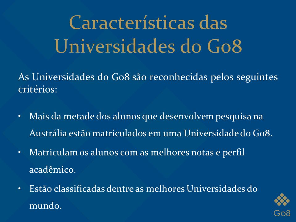 Características das Universidades do Go8