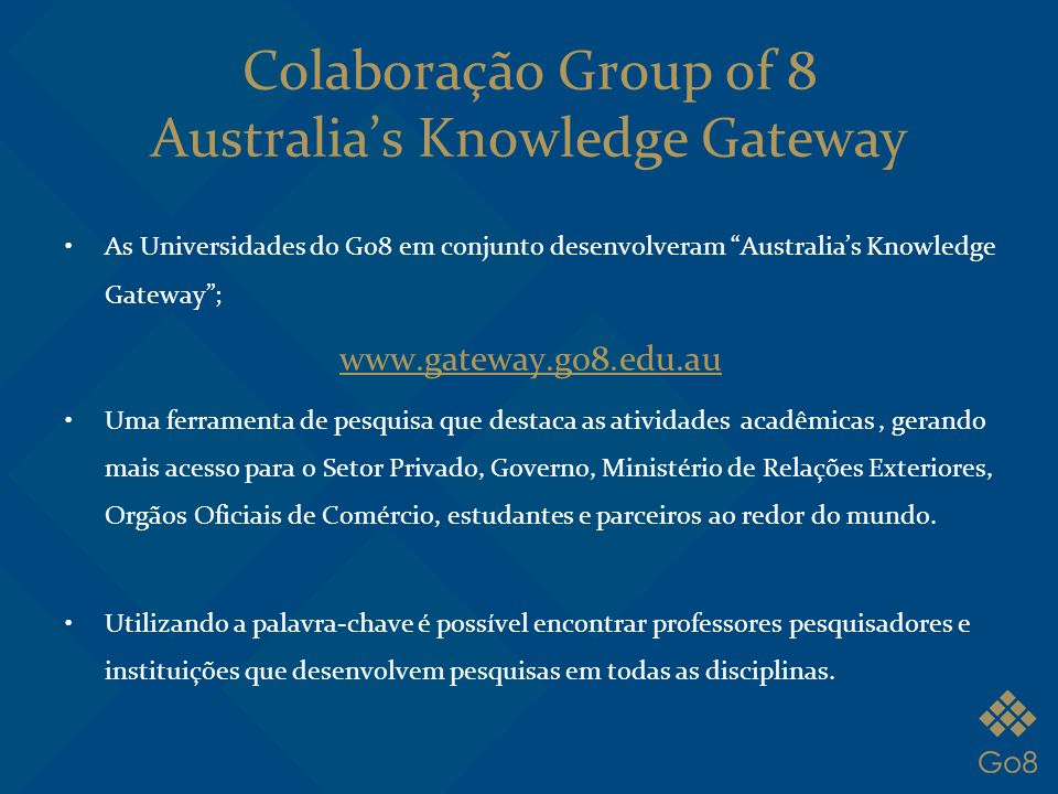 Colaboração Group of 8 Australia's Knowledge Gateway