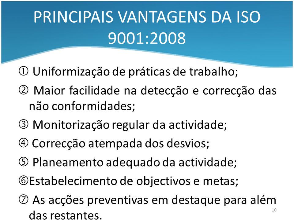 PRINCIPAIS VANTAGENS DA ISO 9001:2008