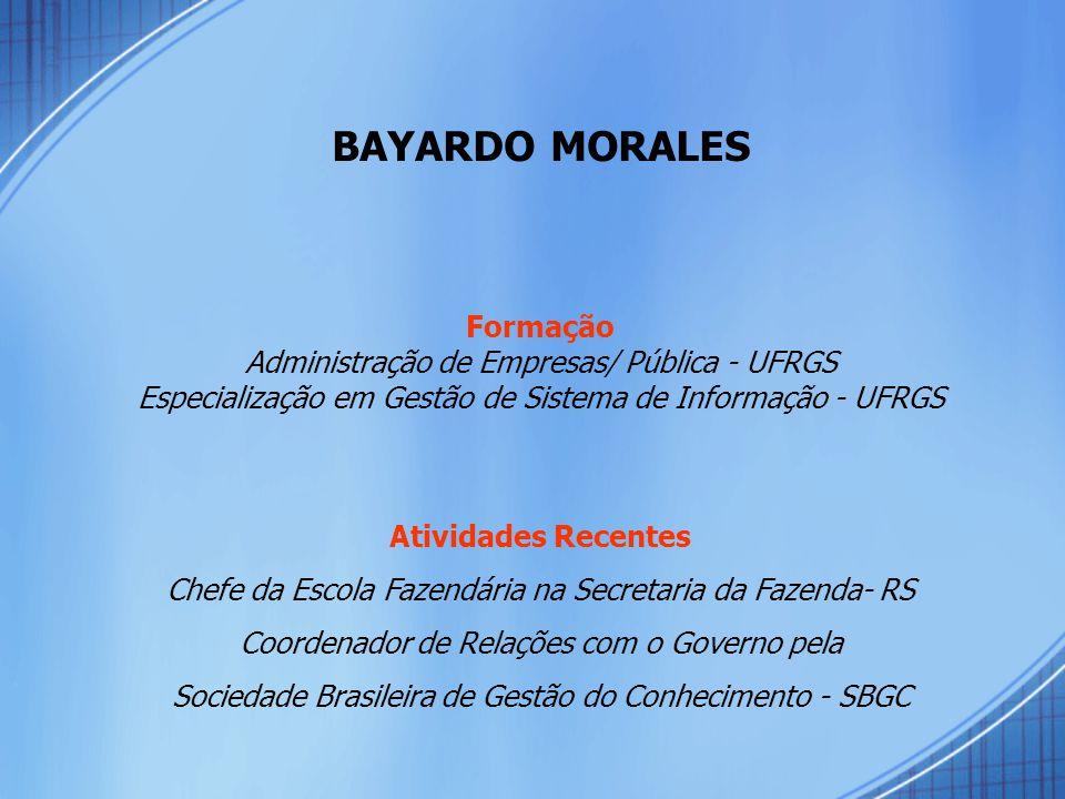 BAYARDO MORALES Formação Administração de Empresas/ Pública - UFRGS