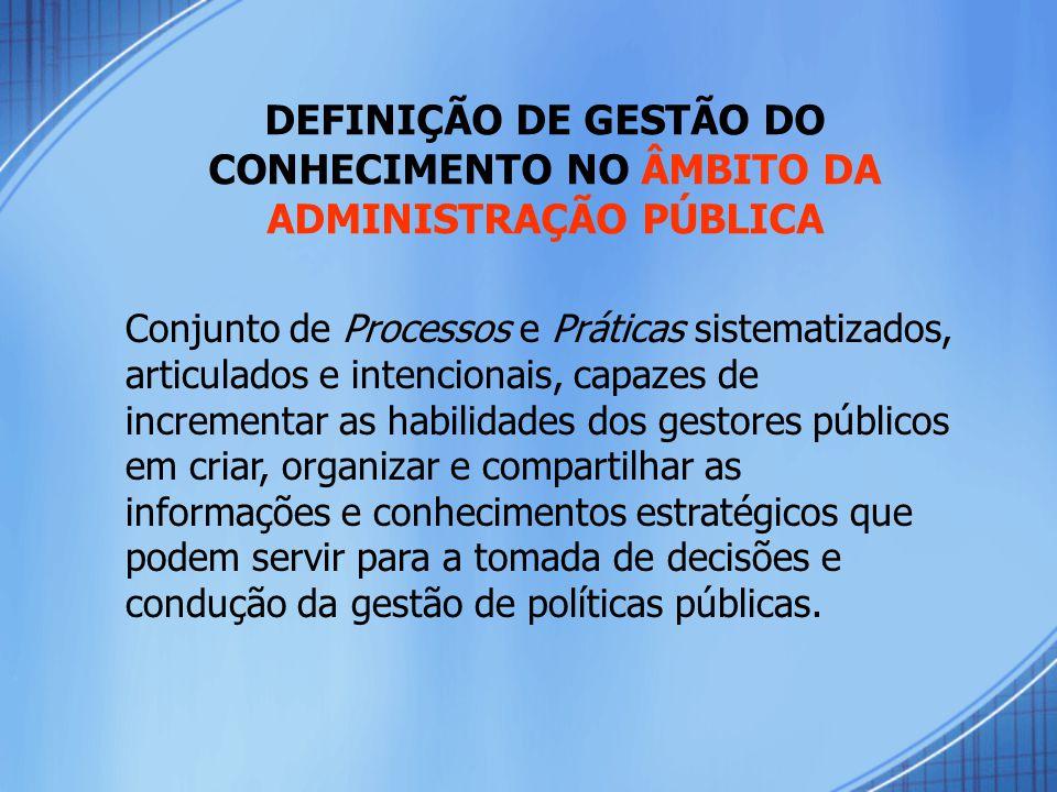 DEFINIÇÃO DE GESTÃO DO CONHECIMENTO NO ÂMBITO DA ADMINISTRAÇÃO PÚBLICA