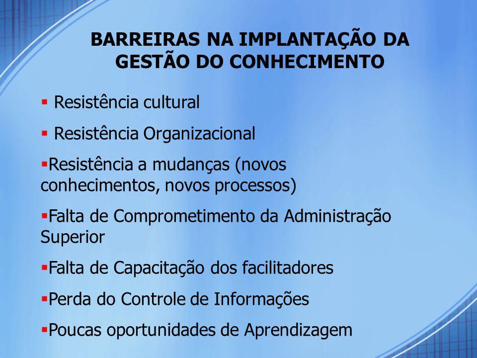 BARREIRAS NA IMPLANTAÇÃO DA GESTÃO DO CONHECIMENTO