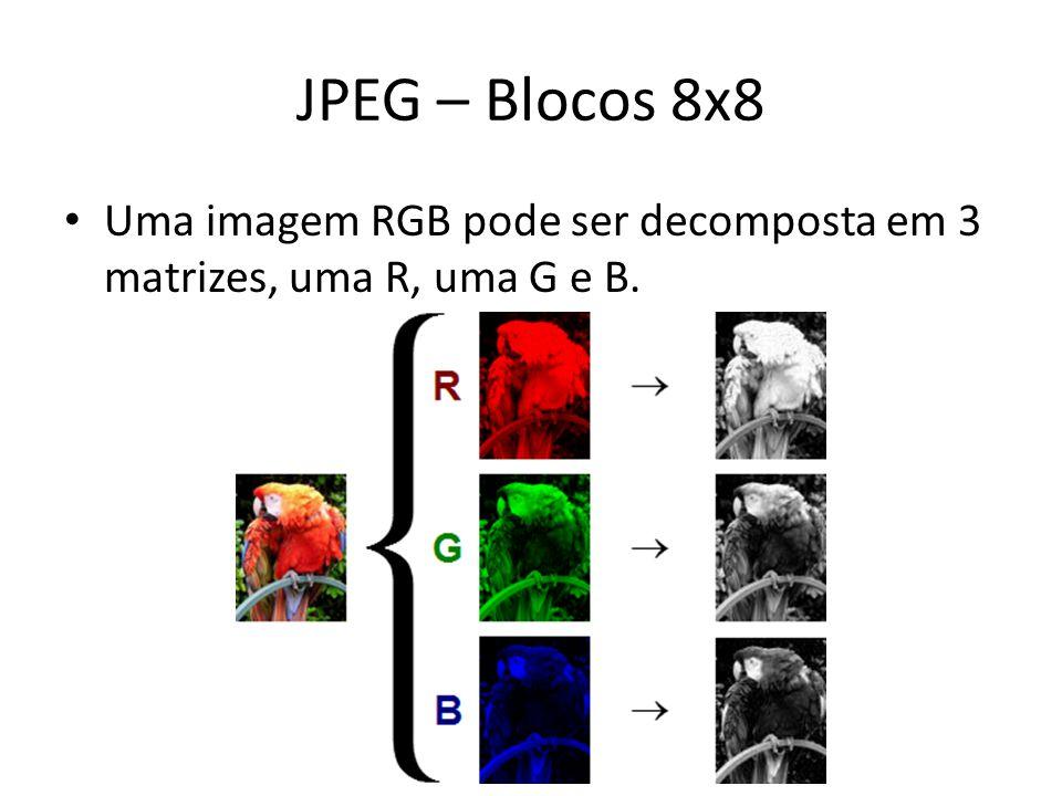 JPEG – Blocos 8x8 Uma imagem RGB pode ser decomposta em 3 matrizes, uma R, uma G e B.