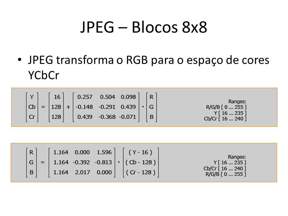 JPEG – Blocos 8x8 JPEG transforma o RGB para o espaço de cores YCbCr