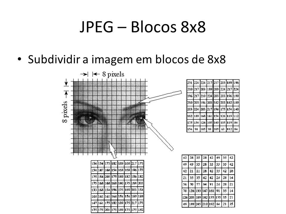 JPEG – Blocos 8x8 Subdividir a imagem em blocos de 8x8