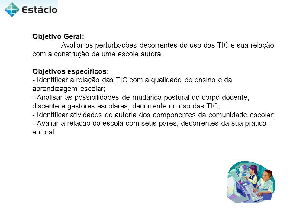 Objetivo Geral: Avaliar as perturbações decorrentes do uso das TIC e sua relação com a construção de uma escola autora.
