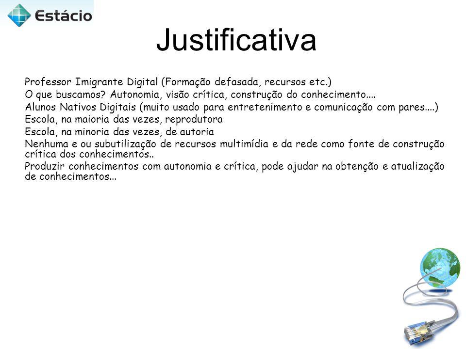 Justificativa Professor Imigrante Digital (Formação defasada, recursos etc.)