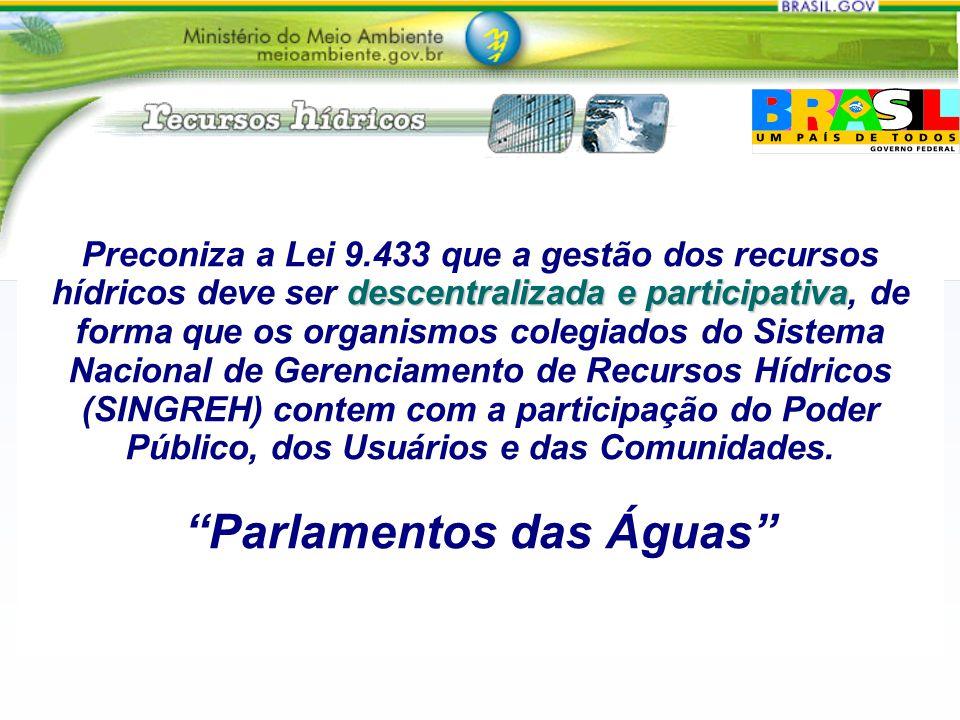 Preconiza a Lei 9.433 que a gestão dos recursos hídricos deve ser descentralizada e participativa, de forma que os organismos colegiados do Sistema Nacional de Gerenciamento de Recursos Hídricos (SINGREH) contem com a participação do Poder Público, dos Usuários e das Comunidades.