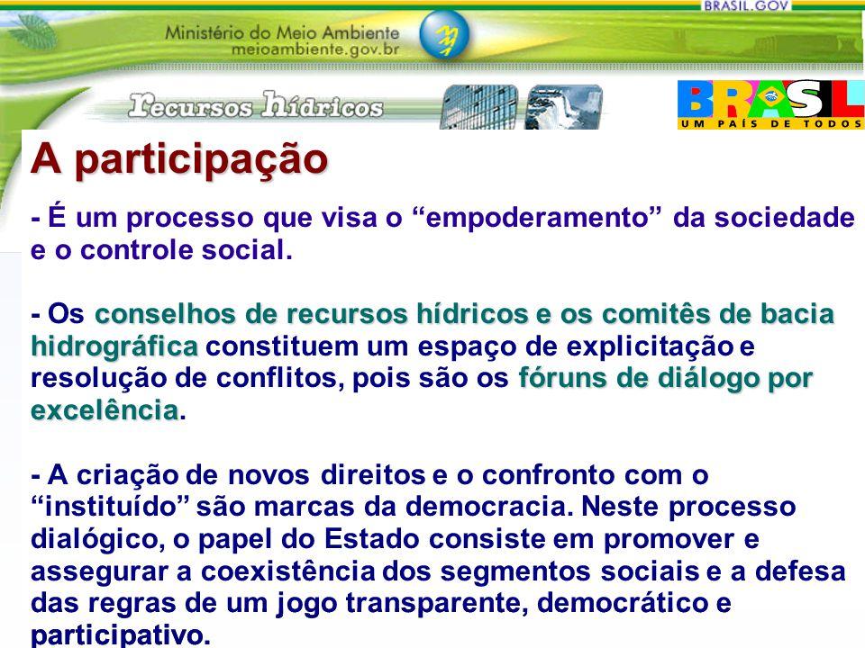 A participação - É um processo que visa o empoderamento da sociedade e o controle social.
