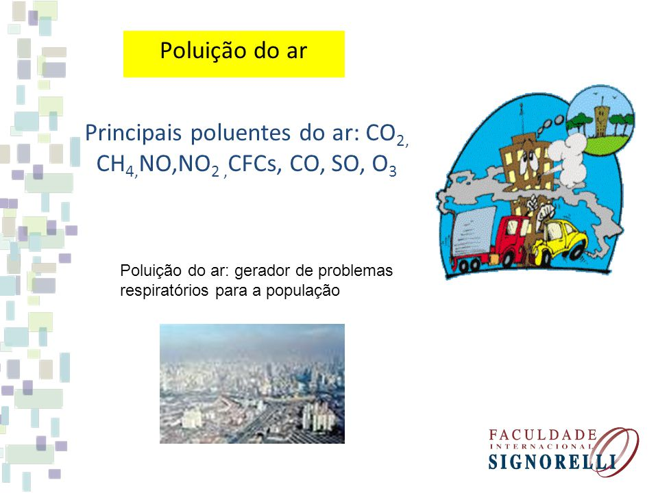 Principais poluentes do ar: CO2, CH4,NO,NO2 ,CFCs, CO, SO, O3