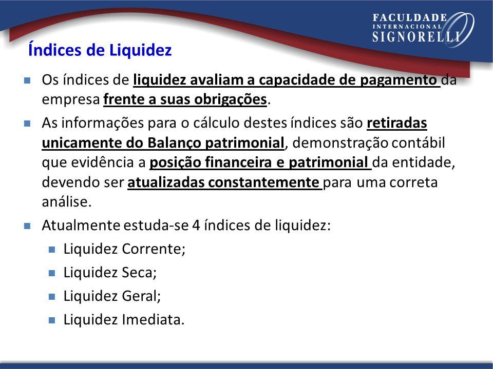 Índices de Liquidez Os índices de liquidez avaliam a capacidade de pagamento da empresa frente a suas obrigações.