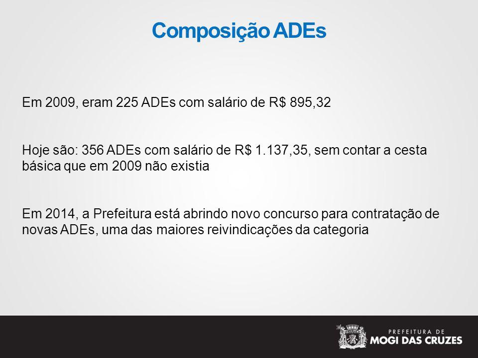 Composição ADEs Em 2009, eram 225 ADEs com salário de R$ 895,32