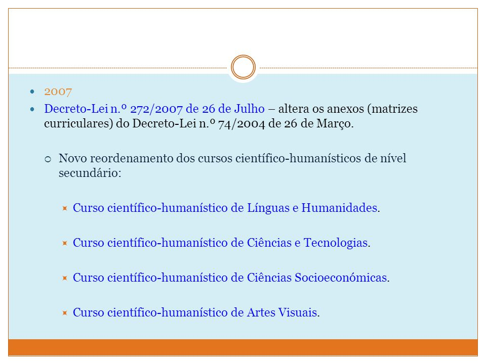 2007 Decreto-Lei n.º 272/2007 de 26 de Julho – altera os anexos (matrizes curriculares) do Decreto-Lei n.º 74/2004 de 26 de Março.