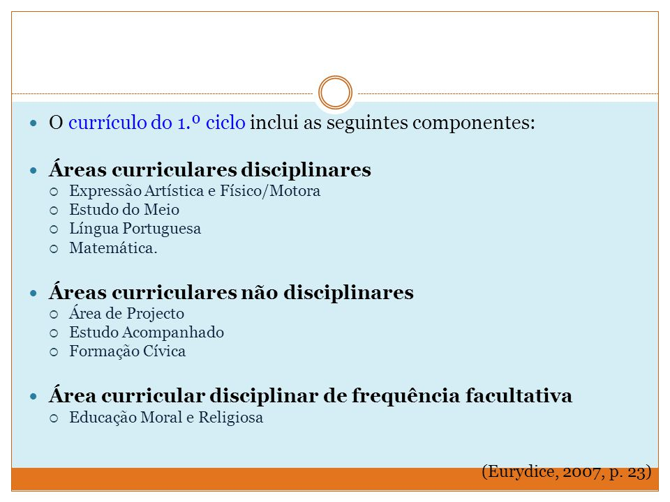 O currículo do 1.º ciclo inclui as seguintes componentes: